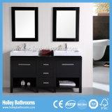 Многофункциональный классицистический шкаф ванной комнаты с 2 тазиками и зеркалами (BV191W)