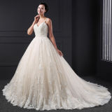 A atrativo - a linha laço de Tulle da V-Garganta Appliques o vestido de casamento frisado (SL023)