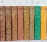 Cuero sintetizado de la PU de Lychee para la fabricación de la carpeta del bolso
