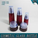 Frasco de empacotamento cosmético do recipiente de creme de vidro vermelho novo da forma profundamente -
