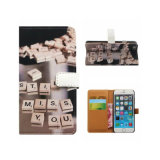 Gedruckter Telefon-Mappen-Leder-Kippen-Kasten für iPhone 7
