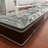 grande isola congelatore di colore cioccolato/del Brown scuro del portello di vetro di scivolamento del volume 550liter