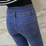 Calças de brim magros da cintura elevada nova das calças de brim da sarja de Nimes da forma das senhoras