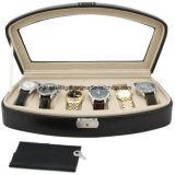 Organizador da caixa de indicador do relógio, couro do plutônio com grande parte superior de vidro (LW-JB0329)