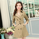 Куртка Parka кашемира отворотом женщин Antumn высокого качества длинняя с поясом
