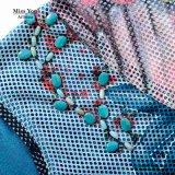 Платье сетки Cyan печати девушок Miss Вы Ailinna 102978 флористическое