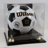 Sostenedor de acrílico del cubo del caso de visualización del balón de fútbol con la base negra