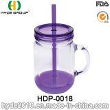 20ozによってカスタマイズされるプラスチック水差し、二重壁のハンドル(HDP-0018)が付いているプラスチックメーソンジャー
