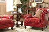 Sofà di cuoio moderno della casa del blocco per grafici di legno del sofà del salone (UL-NS005)