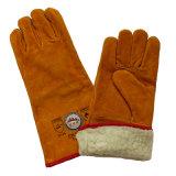 Pleins gants de soudure de l'hiver de cuir fendu de peau de vache de garniture de boa