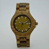 Relógio de madeira da sandália do verde do fecho do aço inoxidável do logotipo de Customzied
