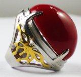 Anelli rossi su ordinazione all'ingrosso dell'acciaio inossidabile della pietra 3161