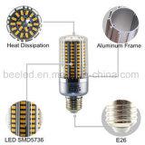 La luz E27 25W del maíz del LED calienta la lámpara de plata blanca del bulbo de la carrocería LED del color