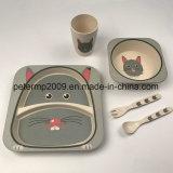 Bambusfaser-Kind-Essgeschirr-Set-, Teller-, Filterglocke-, Cup-und Löffel-Gabel-Set