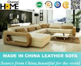 現代Uの形の部門別のソファー、黒い本革(HC1019)
