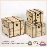 4の木の旧式なネスティングファブリックプリントスーツケースの収納箱セット