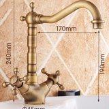 De bronze contínuos antigos de Flg Dual Faucet da bacia do Washroom dos punhos