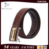 Kundenspezifisches Marken-Firmenzeichen-echte Alligatorleder-Metallfaltenbildung-Riemen für Männer