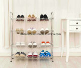 Nivel 4 DIY ajustable Chrome alambre de metal del zapato Estante Organizador