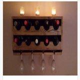 Шкаф вина Upcycled деревенский установленный стеной, держатель бутылки вина 10