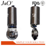 Hoge Vleugelklep Quanlity Sanitaire Pnumatic met Actuator van het Staal Stailness