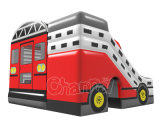 Opblaasbaar het Springen van het Ontwerp van de Bus van de rode Kleur Kasteel met Speelgoed