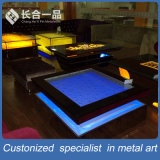Aço inoxidável dourado da manufatura da fábrica com mobília da tabela de chá dos vidros