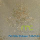 Carta da parati del PVC di disegno del fiore/largamente formato 1.06X15.6m