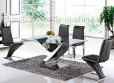 Tabella pranzante di vetro domestica dell'acciaio inossidabile della mobilia (A6033)