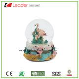 Globo del agua del regalo 80m m del arte de Polyresin con las estatuillas animales para la decoración casera y los regalos promocionales