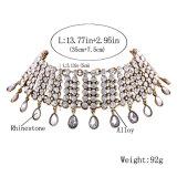 Роскошные блестящие полные ювелирные изделия ожерелья чокеровщика диаманта женщины способа ворота шкентелей Rhinestone