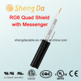 RG6 Quad Shield com Messenger Drop Outdoor Coaxial Cable