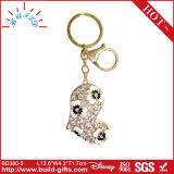 Corrente chave do metal com a pedra de cristal para o presente da promoção