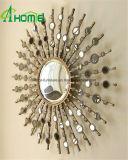 Specchio della parete di burst di Sun di rivestimento antico con il blocco per grafici del metallo