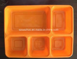 Contenitore di alimento di plastica a gettare della casella di pranzo dei 5 scompartimenti