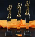 Arte cristalino de la concesión del trofeo del tenis del metal en blanco