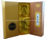Embalaje plano del rectángulo de regalo de Pacakaging del vino del papel hecho a mano