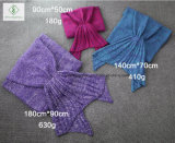 180cm*90cmのかぎ針編みの人魚のテール毛布の柔らかい寝袋編まれた毛布