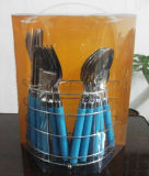 16PCS Plastic Handle Stainless Steel Cutlery Set with Package