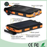 Caricatore doppio impermeabile della Banca di energia solare del telefono mobile del USB con l'indicatore luminoso doppio del LED (SC-6688)