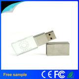 2016 vara leve do USB do cristal do diodo emissor de luz do logotipo feito sob encomenda relativo à promoção da gravura do presente 8GB