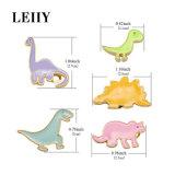 Brooches динозавра стильной розовой голубой пурпуровой зеленой желтой эмали 5PCS/Set милые для повелительницы Просто Животного Pin и Brooches женщин