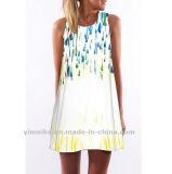 Платье круглого ворота печатание Euramerican цифров способа без бретелек свободное
