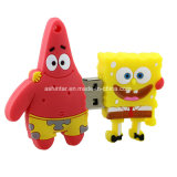 Mecanismo impulsor del flash del USB del PVC de Spongebob de la historieta del palillo del USB de la estrella de Patrick