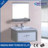 Cabina plástica de la vanidad del cuarto de baño montado en la pared de la fábrica con el espejo
