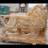 León de oro Ma-565 del calcio de la estatua animal de piedra de mármol del granito