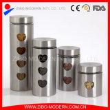 Scatola metallica di vetro dell'alimento dell'acciaio inossidabile con il disegno Heart-Shaped