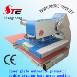 Glide上部のAutomatic Double Station Heat Press Machine 40*40cm Pneumatic T-Shirt Heat Transfer Machine Double Station T Shirt Printing Machine StcQd05