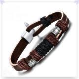 De Armband van het Leer van de Armband van het Roestvrij staal van de Manier van juwelen (LB366)