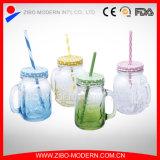 Taza de cristal cuadrada al por mayor de la taza del tarro de masón 16oz con la maneta y la paja